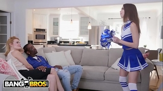 Bangbros - youthful cheerleader riley reed rides a large dark dong