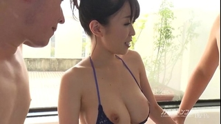 Busty oriental boobjon on washroom 3some