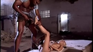 Blonde slutty wife wildly drilled by a dark in an abandoned abode