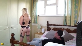 Blonde granny receives drilled by the tv repairman