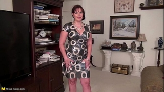 Huge titted older brunette hair using a huge marital-device