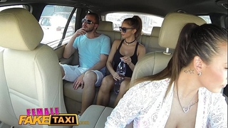 Female fake taxi brunette hair cabbie screwed doggy style in car trunk