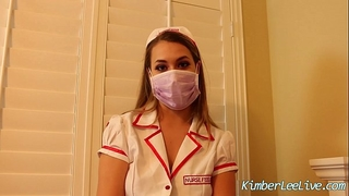Nurse kimber lee gives tugjob in her purple latex gloves!
