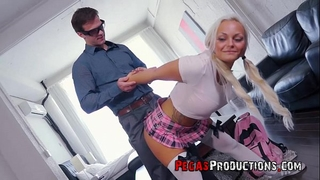 Hot schoolgirl cheerleader with large milk shakes bonks her teacher