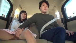 Hot Japanese Asian cute amateur fingered in taxi through panties