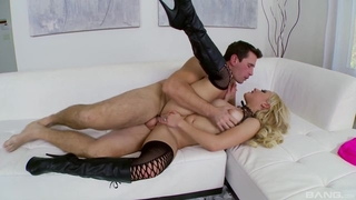 Nasty slut in high boots gets eaten out and banged on the sofa