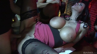 Three wild bitches with big knockers servicing rock hard cock