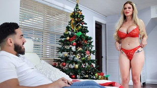 Buxom Russian MILF gets a big throbbing cock for Christmas
