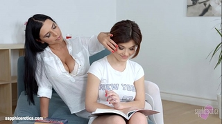 Lesson fantasies by sapphic erotica - carnal lesbo scene with kyra queen veronic