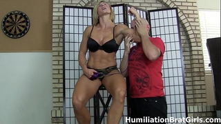 Slave worships mistress rapture's muscles
